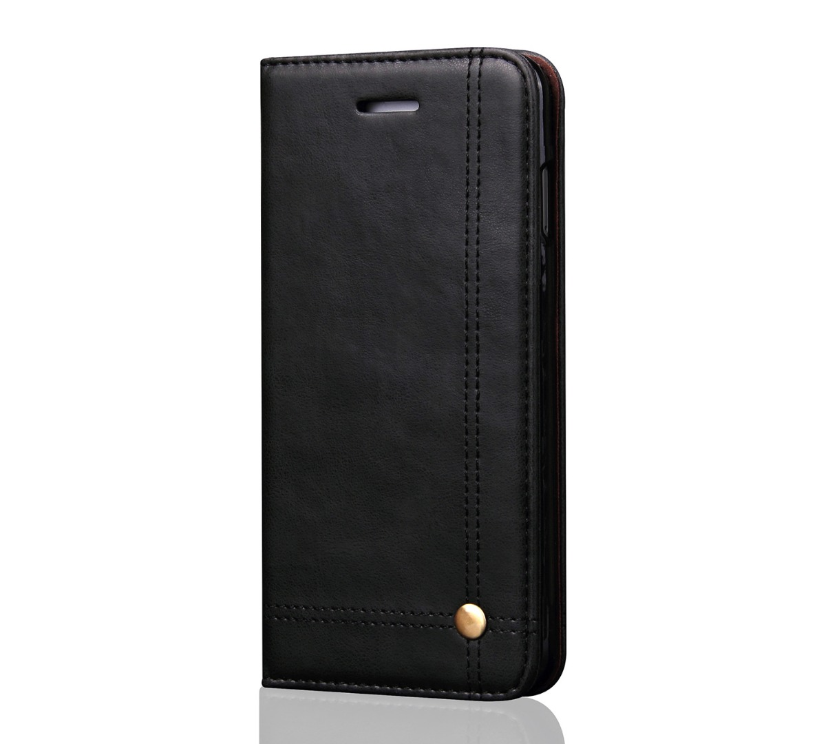 Husa piele, tip portofel, cusaturi ornamentale, stand, inchidere magnetica, iPhone SE 2 (2020), iPhone 8, iPhone 7 - CaseMe, Negru