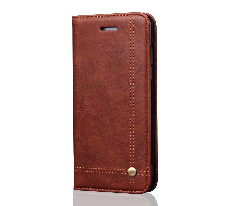 Husa piele, tip portofel, cusaturi ornamentale, stand, inchidere magnetica, iPhone SE 2 (2020), iPhone 8, iPhone 7 - CaseMe, Maro coffee