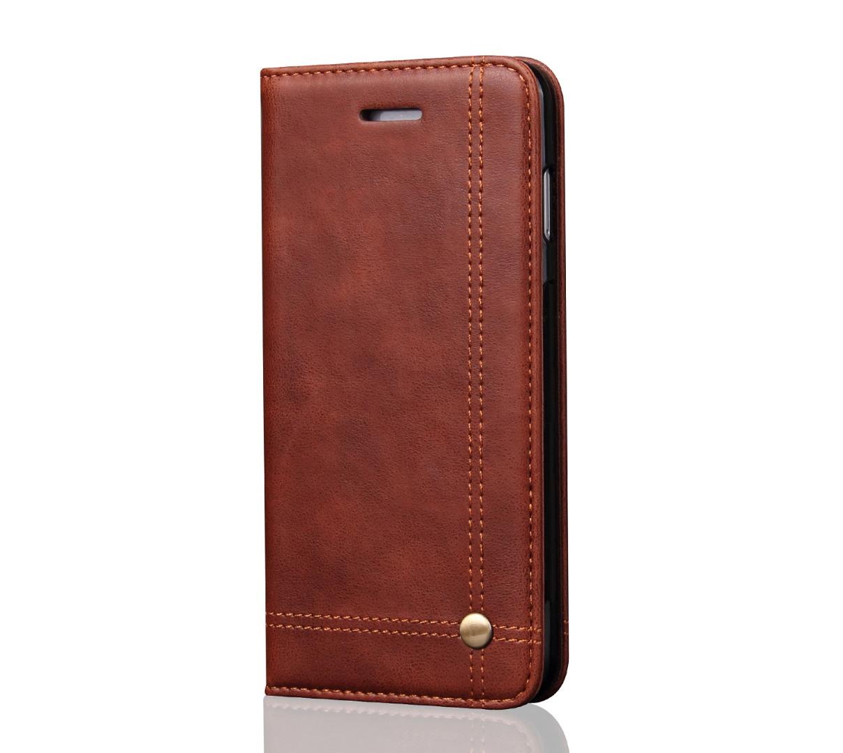Husa piele, tip portofel, cusaturi ornamentale, stand, inchidere magnetica, iPhone X / XS - CaseMe, Maro coffee