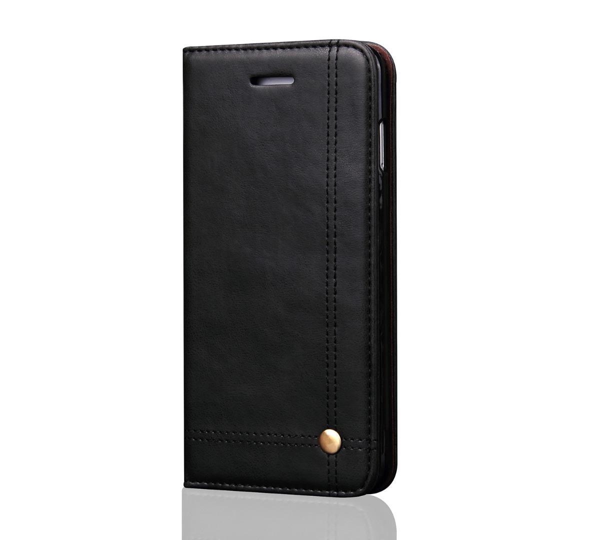 Husa piele, tip portofel, cusaturi ornamentale, stand, inchidere magnetica, iPhone X / XS - CaseMe, Negru