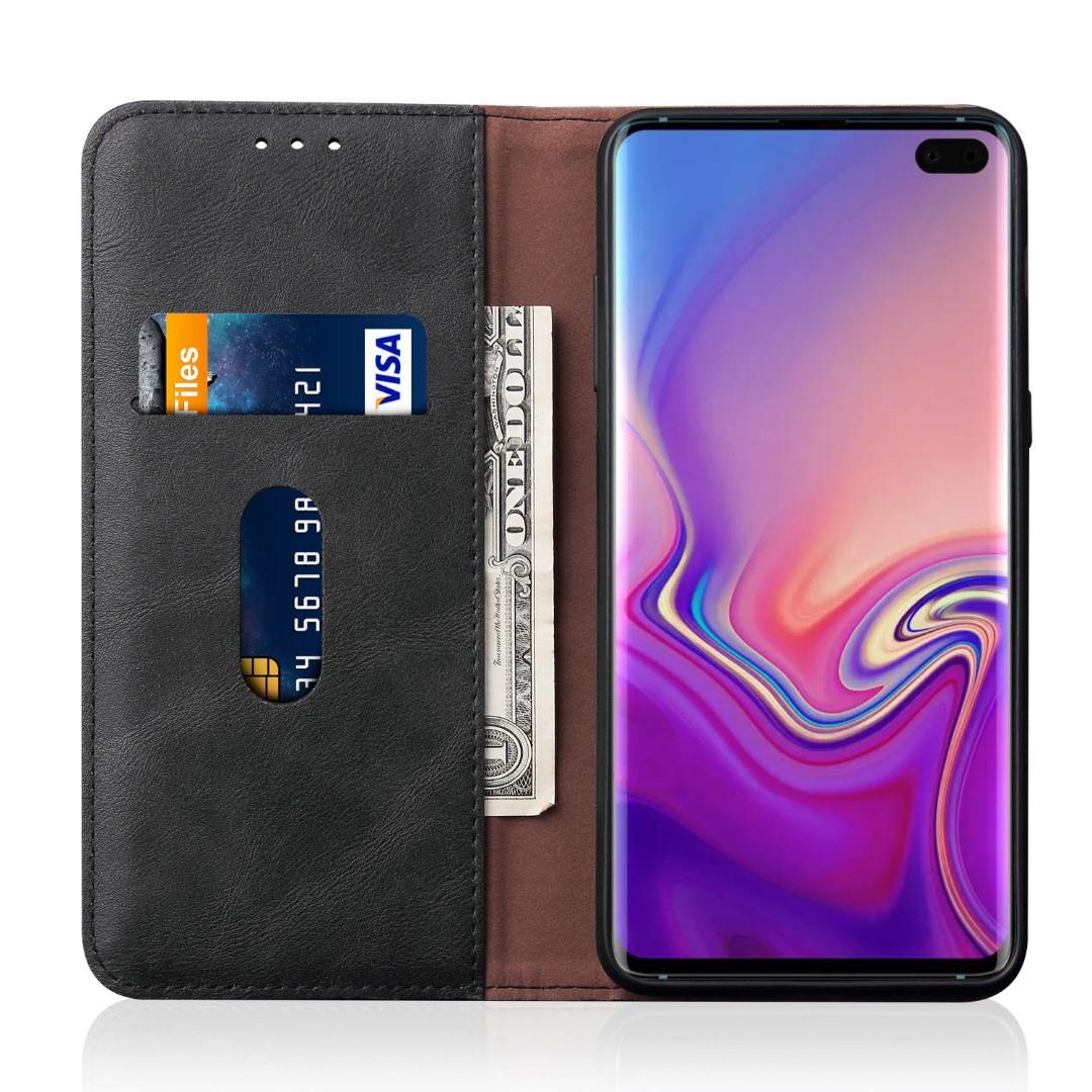 Husa piele, tip portofel, cusaturi ornamentale, stand, inchidere magnetica, Samsung Galaxy S10 Plus - CaseMe, Negru