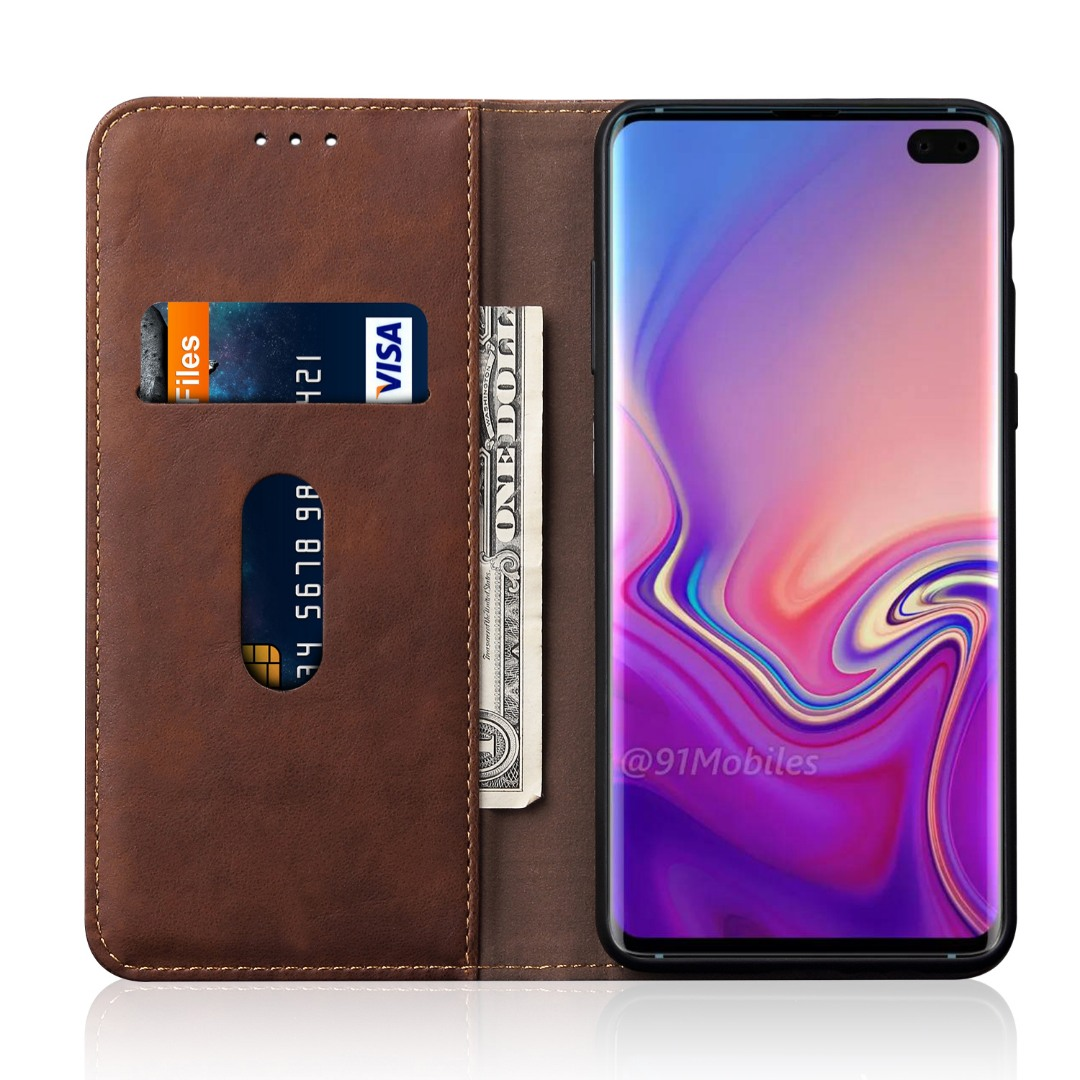 Husa piele, tip portofel, cusaturi ornamentale, stand, inchidere magnetica, Samsung Galaxy S10 Plus - CaseMe, Maro coffee