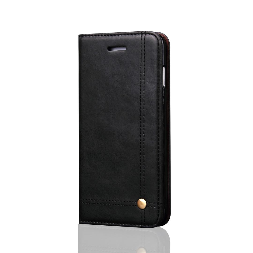 Husa piele, tip portofel, cusaturi ornamentale, stand, inchidere magnetica, Samsung Galaxy S9 Plus - CaseMe, Negru