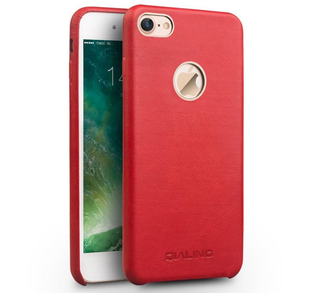 Husa slim din piele naturala de vitel, tip back cover, iPhone 7 - Qialino Classic, Rosu
