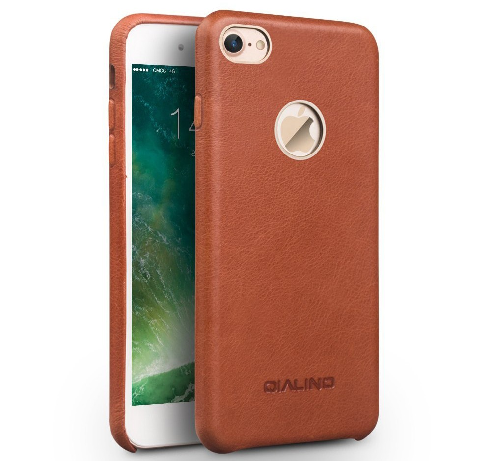 Husa slim din piele naturala de vitel, tip back cover, iPhone 7 - Qialino Classic, Maro tabac