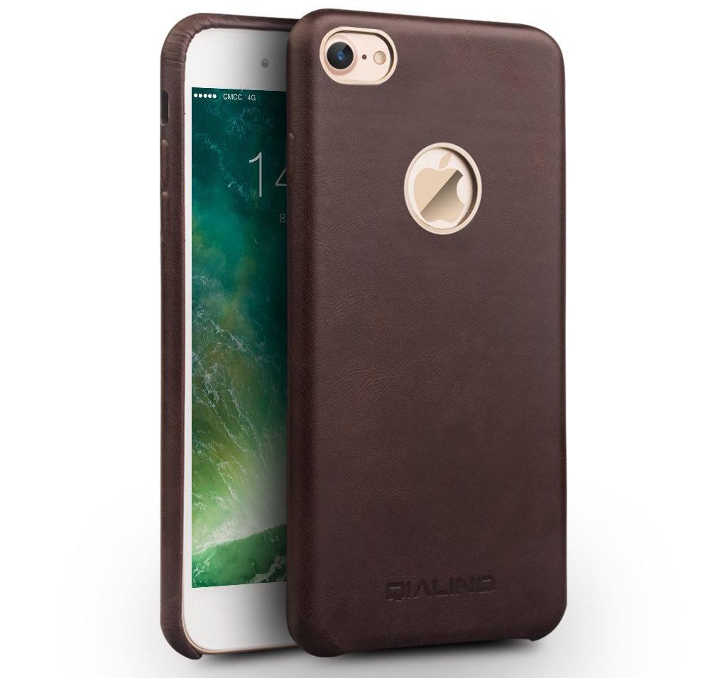 Husa slim din piele naturala de vitel, tip back cover, iPhone 7 - Qialino Classic, Maro coffee