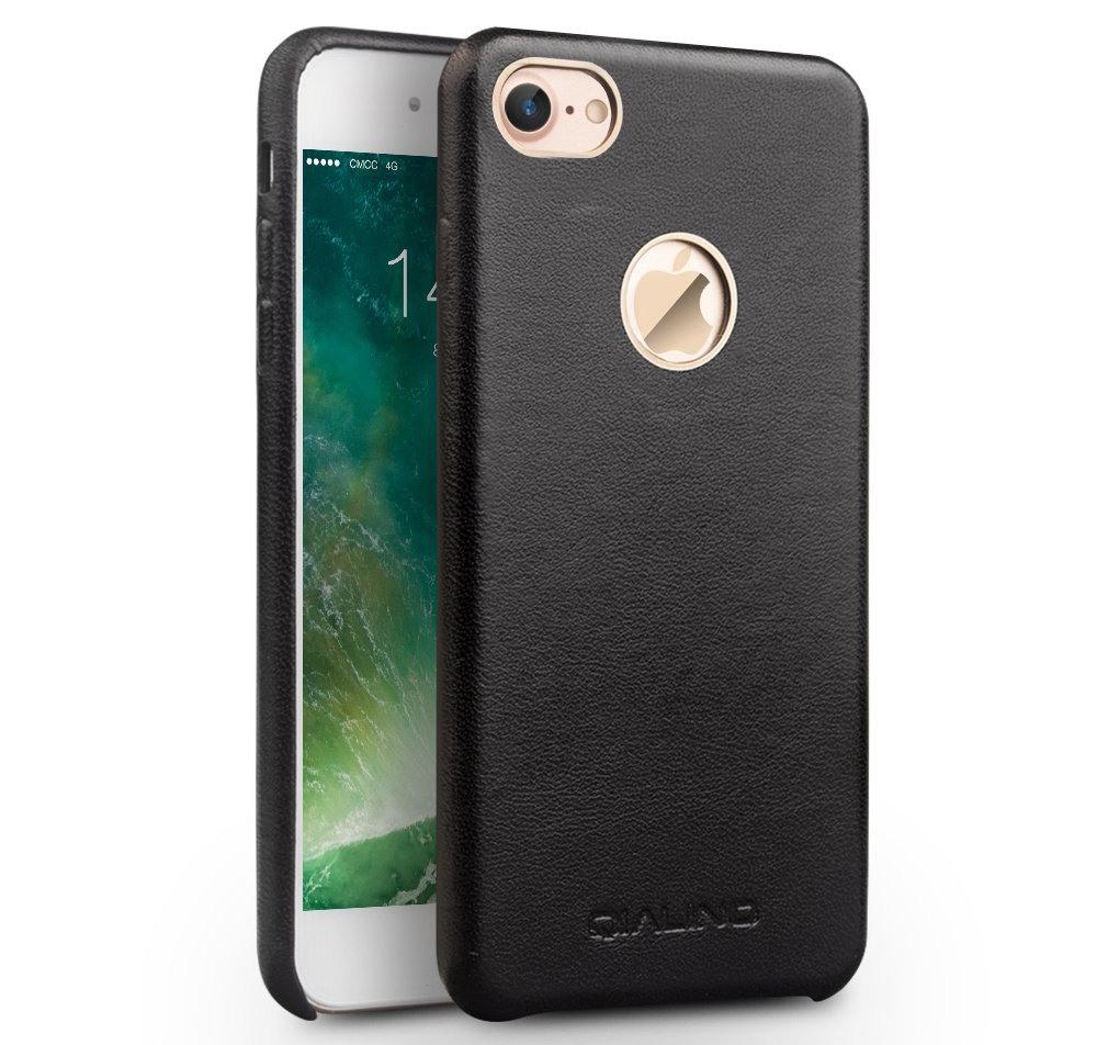 Husa slim din piele naturala de vitel, tip back cover, iPhone 7 - Qialino Classic, Negru