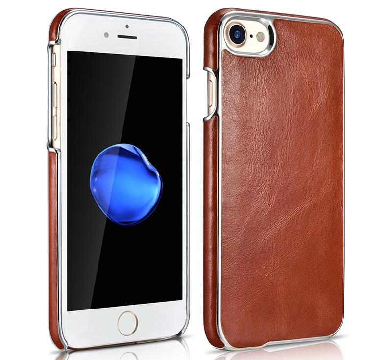 Husa din piele, cu ornamente, tip back cover, iPhone 8 / iPhone 7 - Xoomz Platinum, Maro coniac