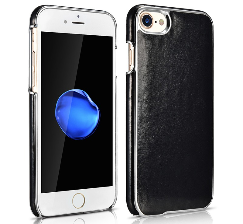 Husa din piele, cu ornamente, tip back cover,iPhone SE 2 (2020), iPhone 8, iPhone 7 - Xoomz Platinum, Negru