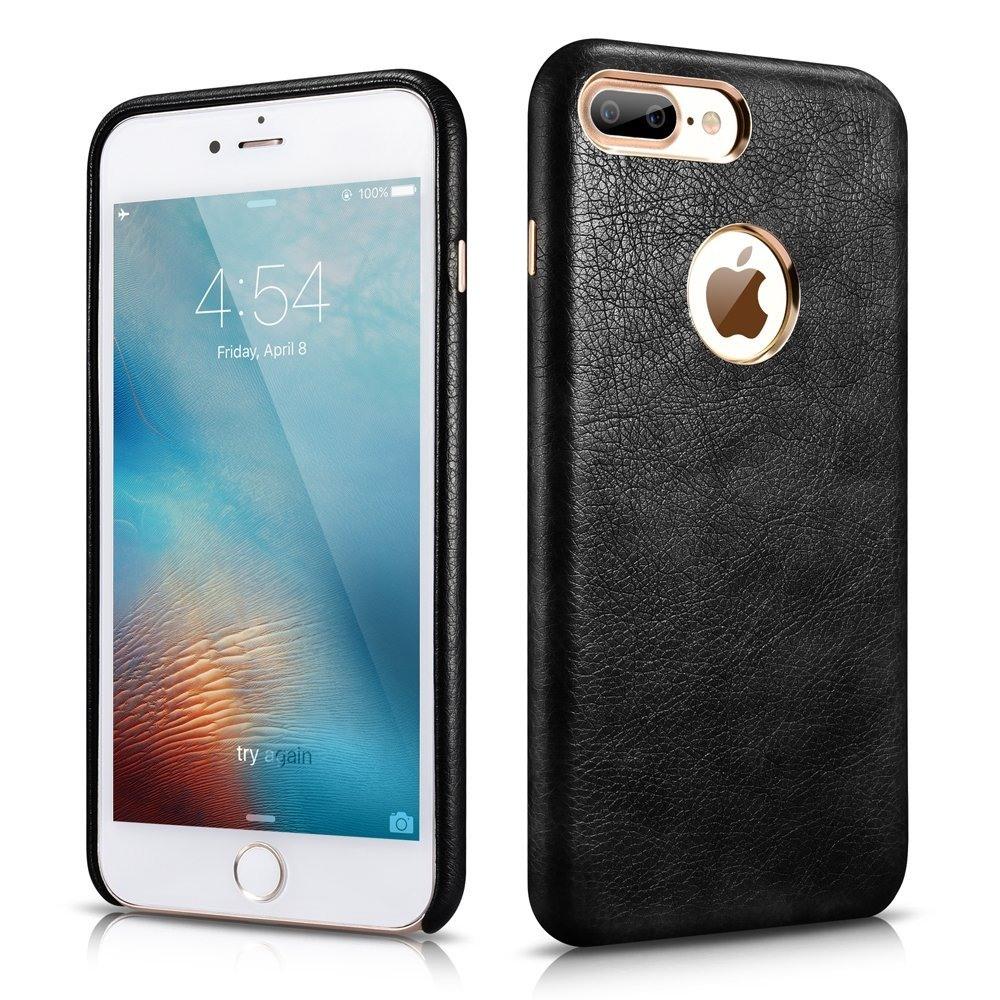 Husa piele, tip back cover, iPhone 7 Plus - Xoomz by iCarer Liquid Series, Negru