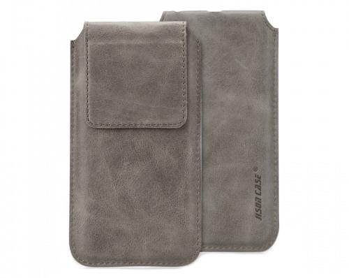 Husa din piele naturala tip saculet, inchidere magnetica, telefoane pana la 159mm - Jison case, Gri