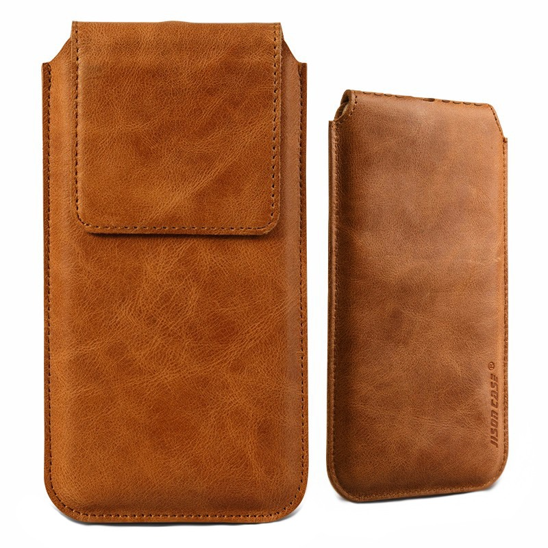 Husa din piele naturala tip saculet, inchidere magnetica, telefoane pana la 159mm - Jison case, Maro tabac