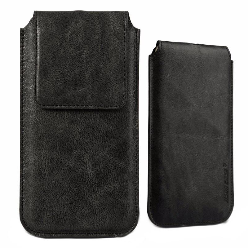 Husa din piele naturala tip saculet, inchidere magnetica, telefoane pana la 159mm - Jison case, Negru