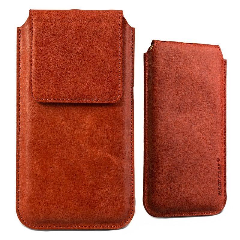 Husa din piele naturala tip saculet, inchidere magnetica, telefoane pana la 159mm - Jison case, Rosu