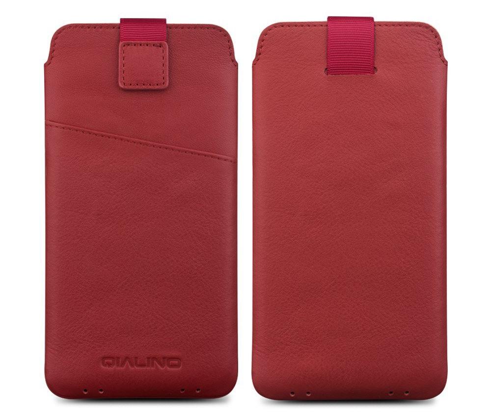 Husa tip saculet din piele naturala moale, iPhone SE 2 (2020), iPhone 8, iPhone 7, iPhone 6 / 6s - Qialino Pouch, Rosu