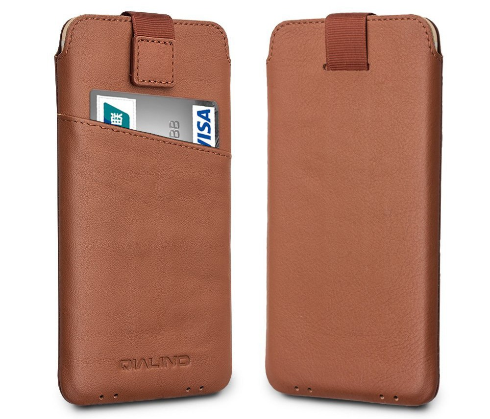 Husa tip saculet din piele naturala moale, iPhone 8, iPhone 7, iPhone 6 / 6s - Qialino Pouch, Maro tabac
