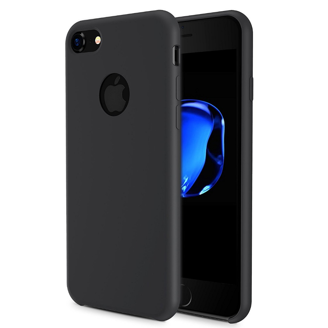 Husa din silicon cu textura mata, iPhone 7, Xoomz by iCarer Original Silicone, Negru