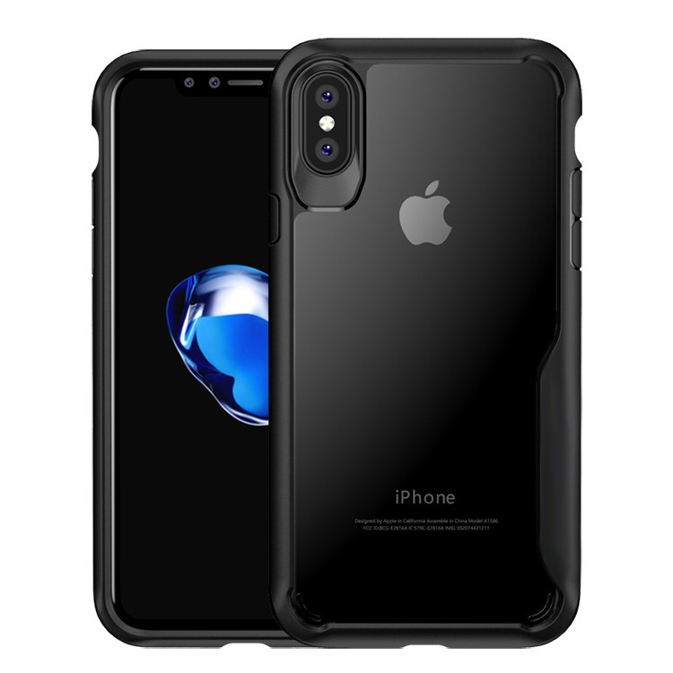 Husa din silicon + policarbonat transparent, protectie 360 grade, iPhone XS Max - CaseMe Army, Negru
