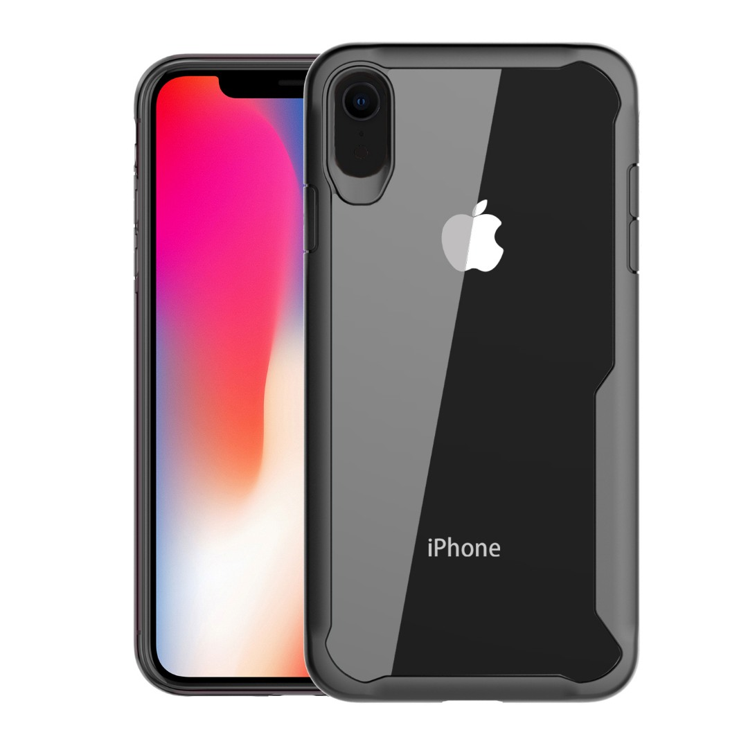 Husa din silicon + policarbonat transparent, protectie 360 grade, iPhone XR - CaseMe Army, Negru