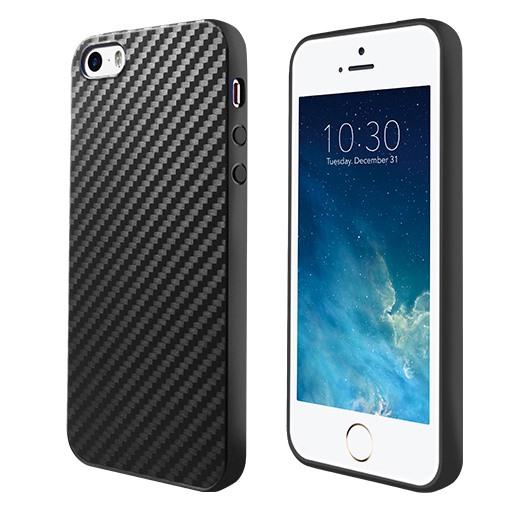 Husa slim TPU, aspect fibra de carbon, back cover, iPhone SE / 5 / 5s /  - Hoco Delicate Shadow, negru