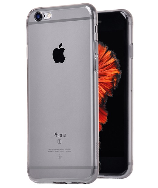 Husa ultra slim din silicon + gel TPU, tip back cover, iPhone 6 / 6s - HOCO, Negru transparent
