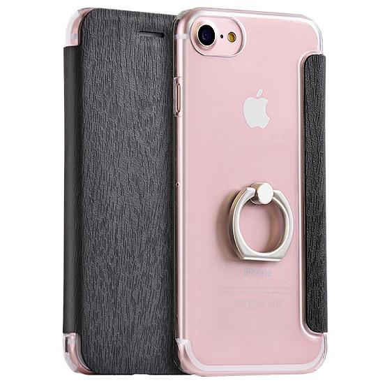 Husa slim cu inel sustinere, tip carte, iPhone SE 2 (2020) / iPhone 8 / iPhone 7 - Hoco, Negru