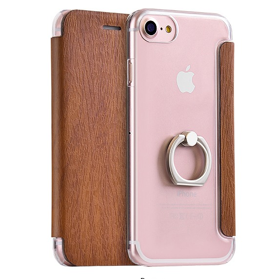 Husa slim cu inel sustinere, tip carte, iPhone SE 2 (2020) / iPhone 8 / iPhone 7 - Hoco, Maro