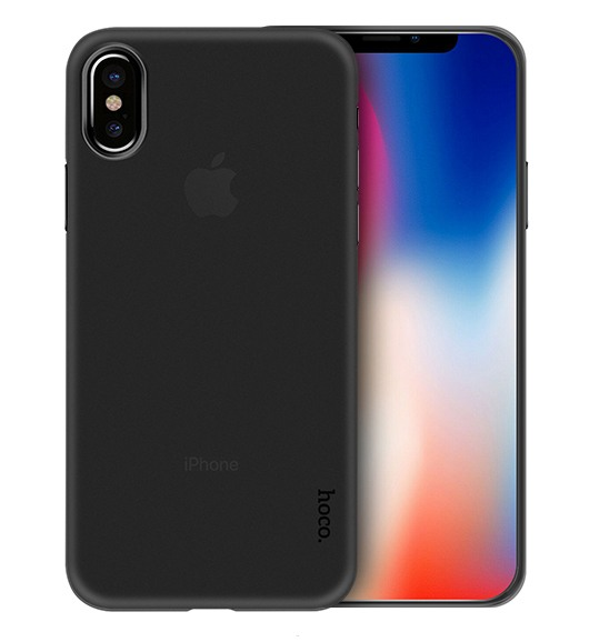 Husa ultra slim mata, tip back cover, iPhone X / XS - HOCO Thin, Negru transparent