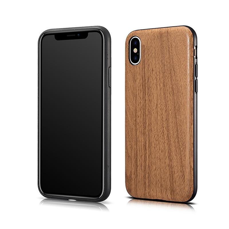 Husa slim piele cu aspect de lemn, iPhone X / XS - Xoomz Wood, Maro