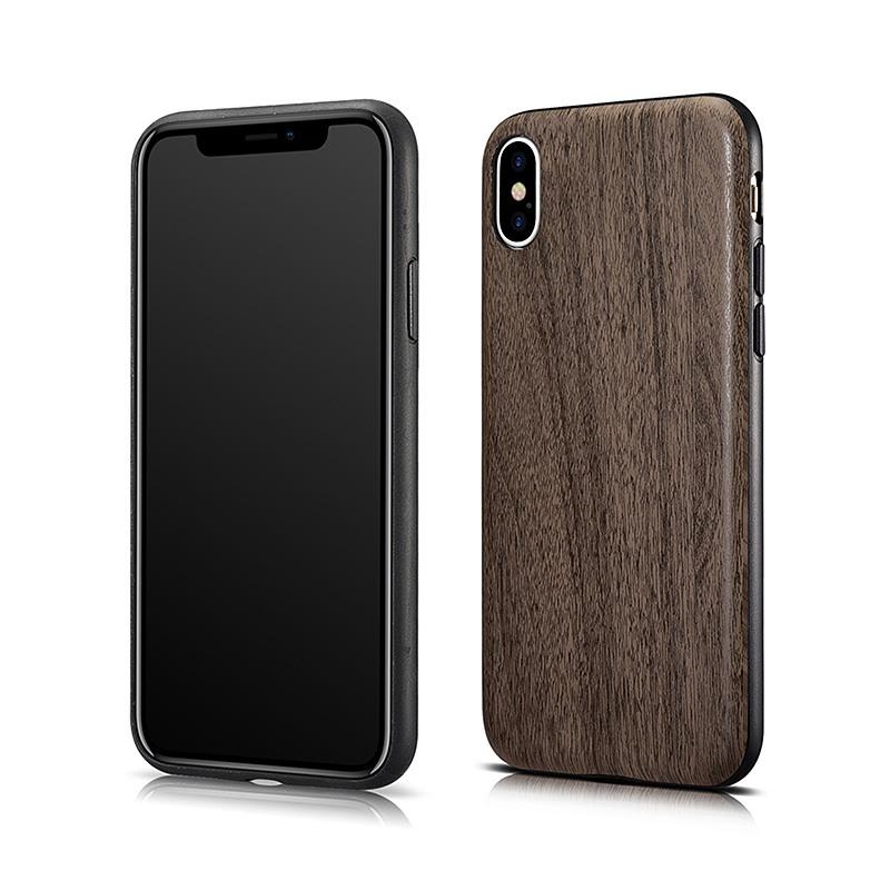 Husa slim piele cu aspect de lemn, iPhone X / XS - Xoomz Wood, Maro coffee