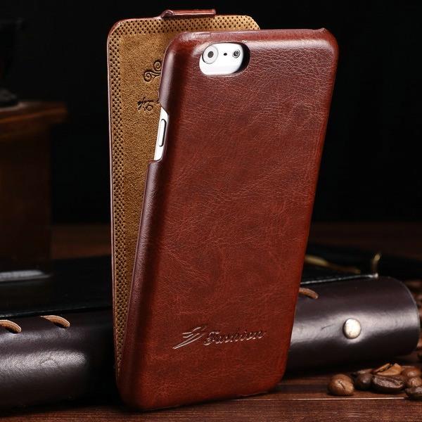 Husa piele fina, tip flip cover, iPhone 6 / 6s - CaseMe, Maro coniac