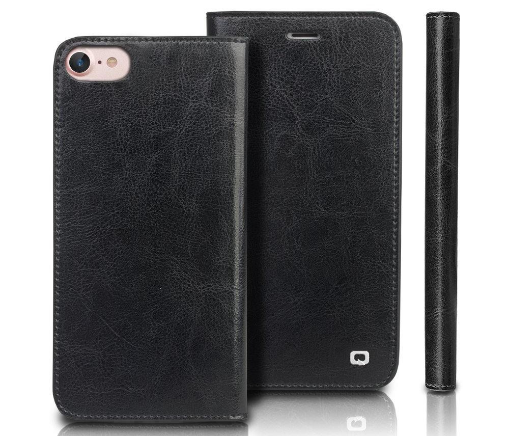 Husa din piele fina tip carte, cu buzunare carduri si bani, iPhone SE 2 (2020) / iPhone 8 / iPhone 7 / iPhone 6 / 6s - Qialino Classic Wallet, Negru