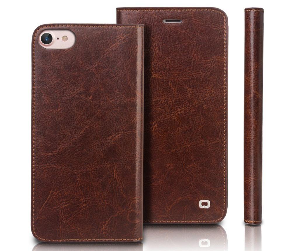 Husa din piele fina tip carte, cu buzunare carduri si bani, iPhone SE 2 (2020) / iPhone 8 / iPhone 7 - Qialino Classic Wallet, Maro coffee
