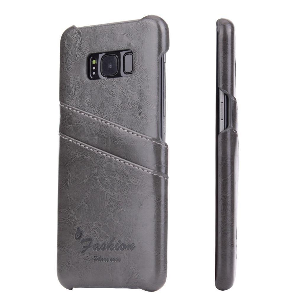 Husa slim piele fina cu textura vintage, tip back cover, Samsung Galaxy S8 - CaseMe, Gri