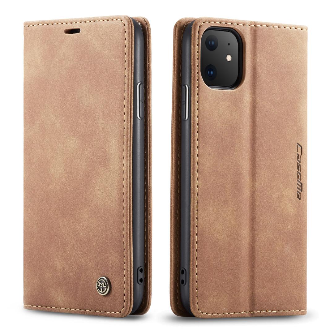 Husa slim piele, tip portofel, stand, inchidere magnetica, textura catifelata, iPhone 11 - CaseMe, Maro