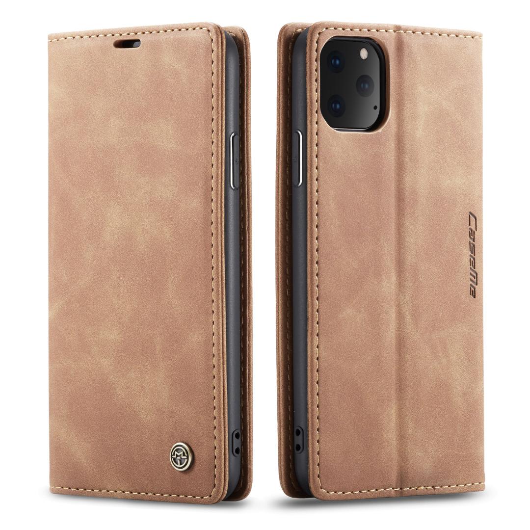 Husa slim piele, tip portofel, stand, inchidere magnetica, textura catifelata, iPhone 11 Pro Max - CaseMe, Maro