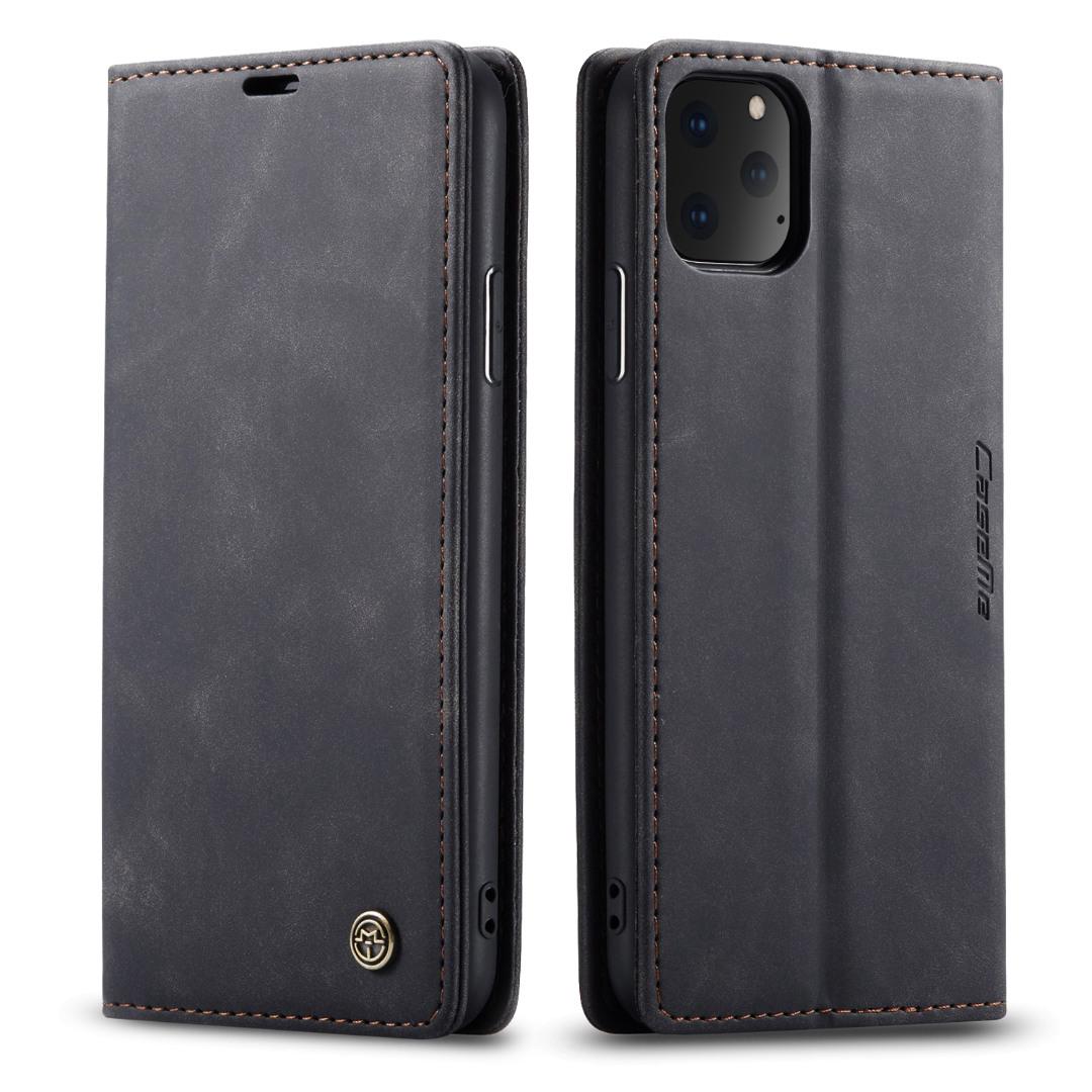 Husa slim piele, tip portofel, stand, inchidere magnetica, textura catifelata, iPhone 11 Pro - CaseMe, Negru