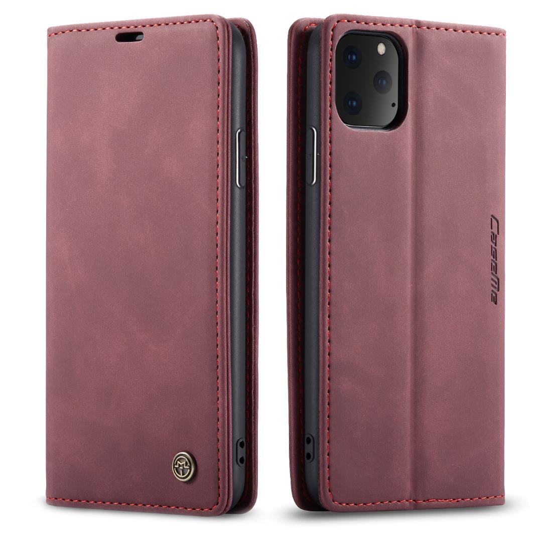 Husa slim piele, tip portofel, stand, inchidere magnetica, textura catifelata, iPhone 11 Pro - CaseMe, Visiniu