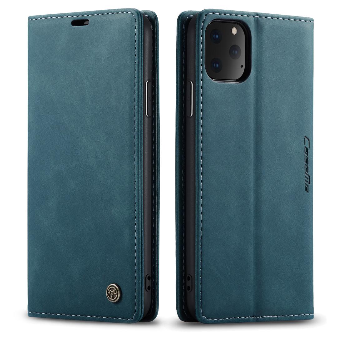 Husa slim piele, tip portofel, stand, inchidere magnetica, textura catifelata, iPhone 11 Pro - CaseMe, Albastru inchis
