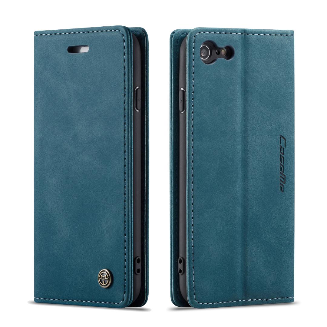 Husa slim piele, tip portofel, stand, inchidere magnetica, textura catifelata, iPhone 6 / 6s - CaseMe, Albastru inchis