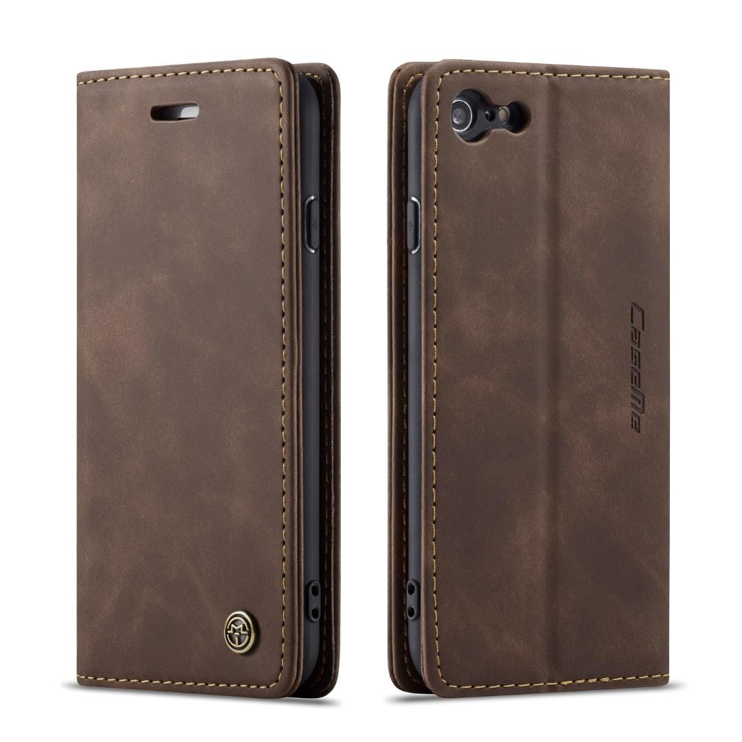 Husa slim piele, tip portofel, stand, inchidere magnetica, textura catifelata, iPhone 6 / 6s - CaseMe, Maro coffee