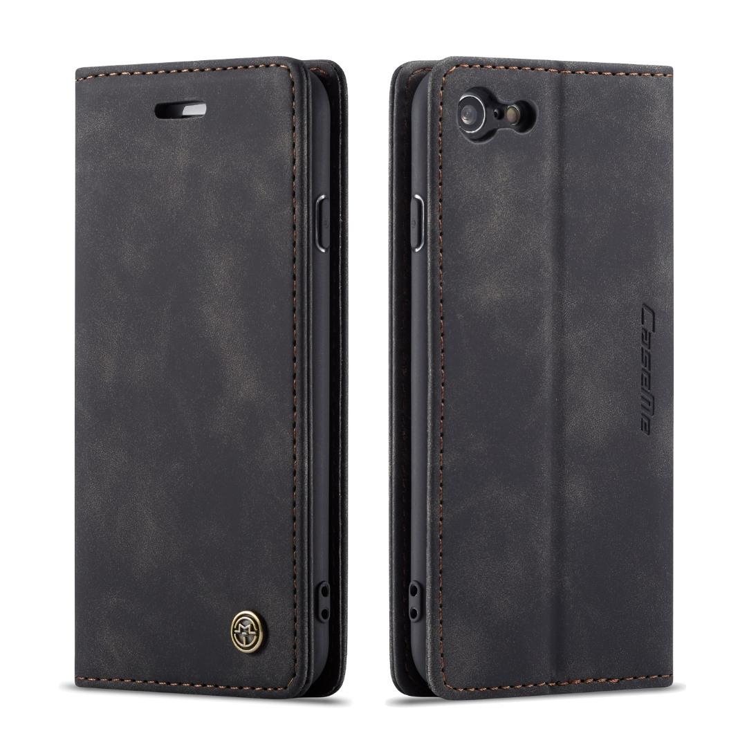 Husa slim piele, tip portofel, stand, inchidere magnetica, textura catifelata, iPhone 6 / 6s - CaseMe, Negru
