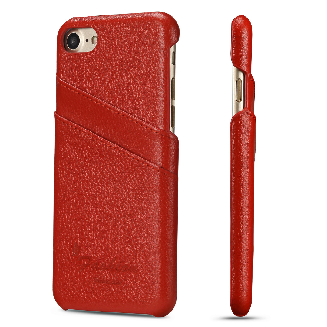Husa slim din piele, iPhone SE 2 (2020), iPhone 8, iPhone 7, cu buzunarase carduri, back cover - CaseMe, Rosu