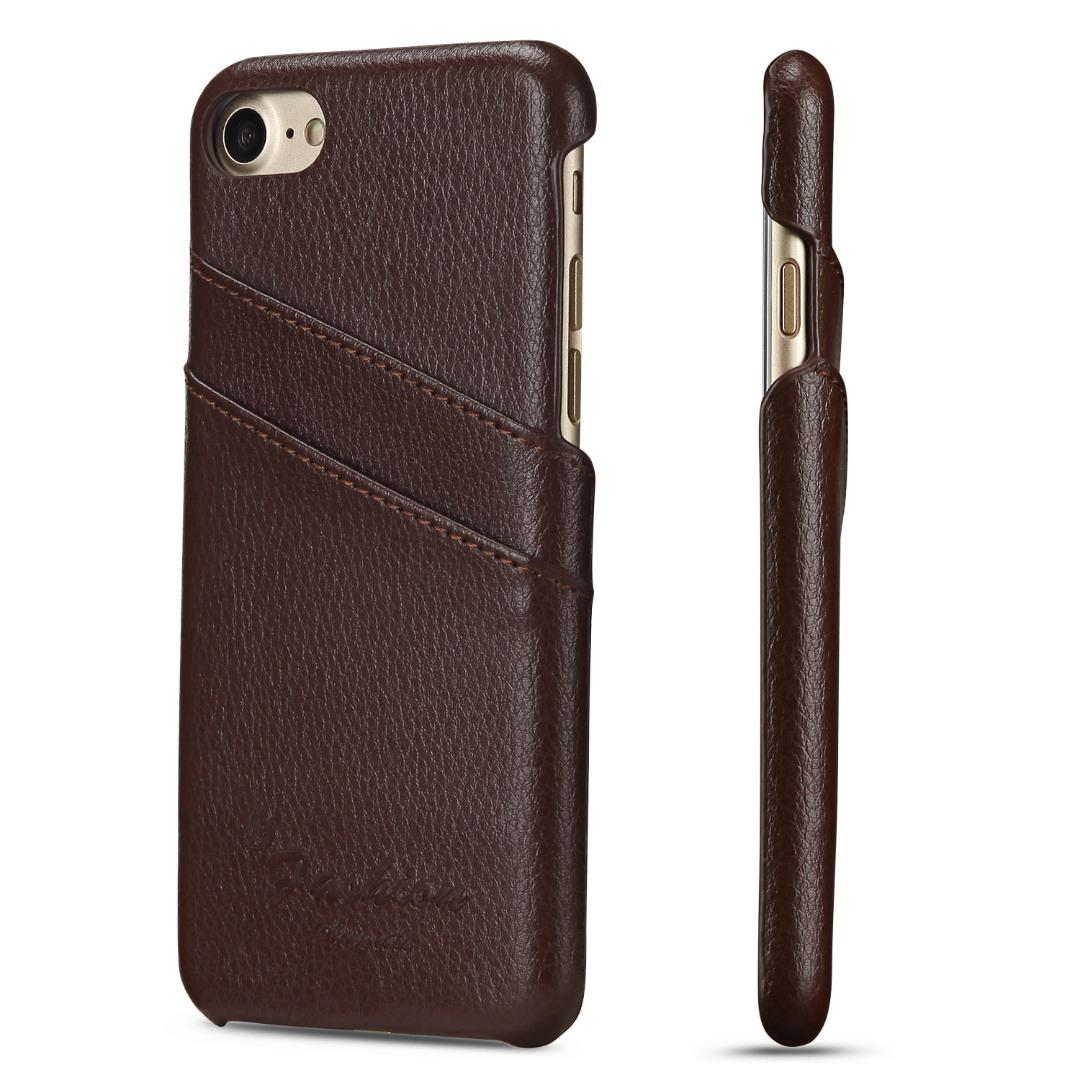 Husa slim din piele, iPhone 8 / iPhone 7, cu buzunarase carduri, back cover - CaseMe, Maro