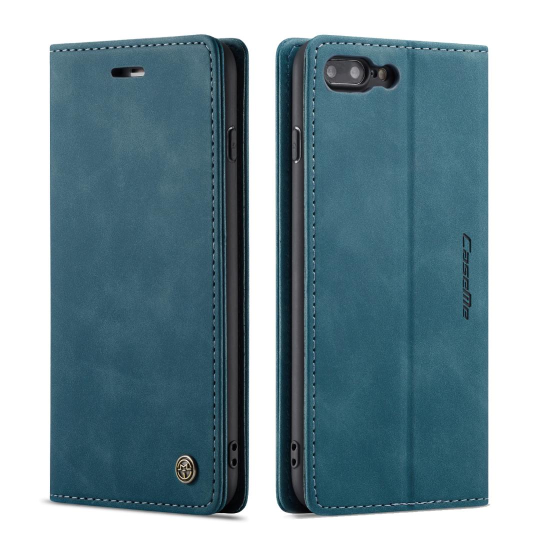 Husa slim piele, tip portofel, stand, inchidere magnetica, textura catifelata iPhone 8 Plus / 7 Plus - CaseMe, Albastru inchis