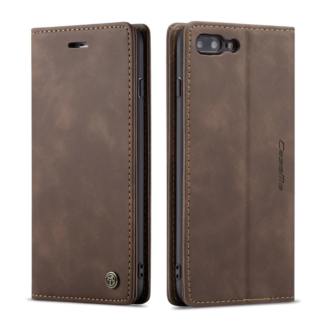 Husa slim piele, tip portofel, stand, inchidere magnetica, textura catifelata iPhone 8 Plus / 7 Plus - CaseMe, Maro coffee