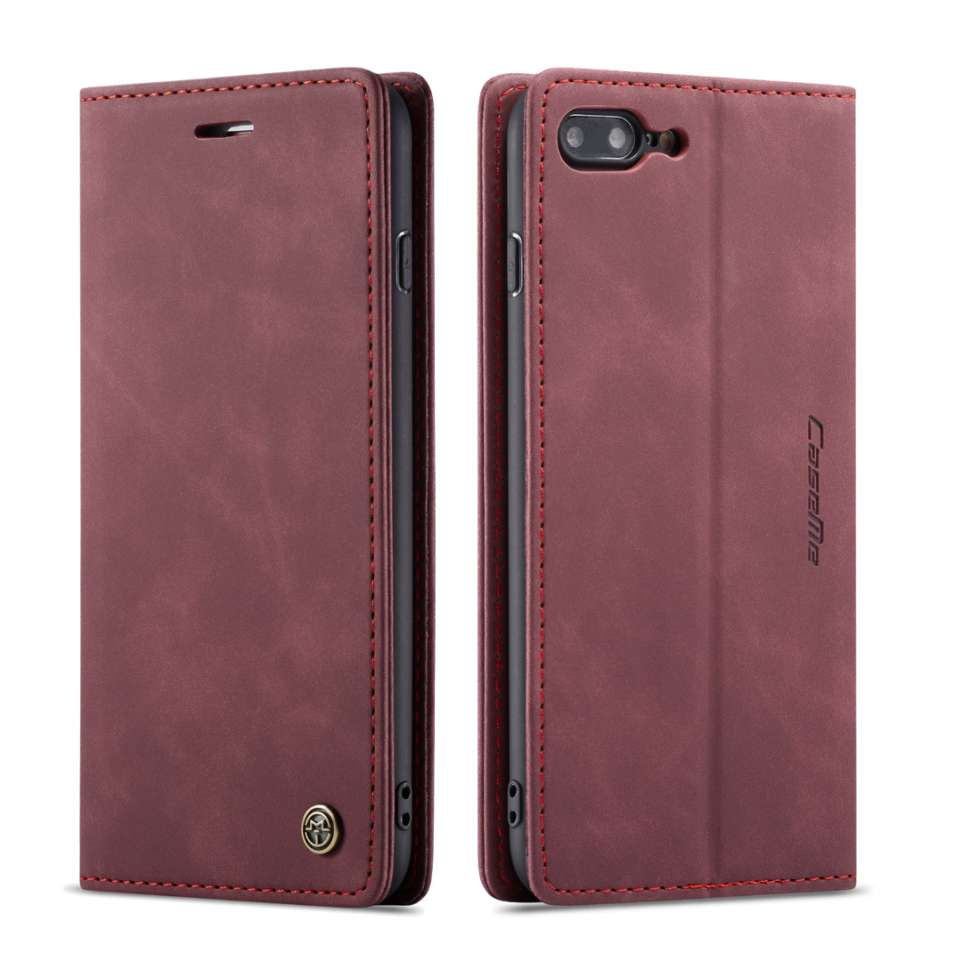 Husa slim piele, tip portofel, stand, inchidere magnetica, textura catifelata, iPhone 8 Plus / 7 Plus - CaseMe, Visiniu
