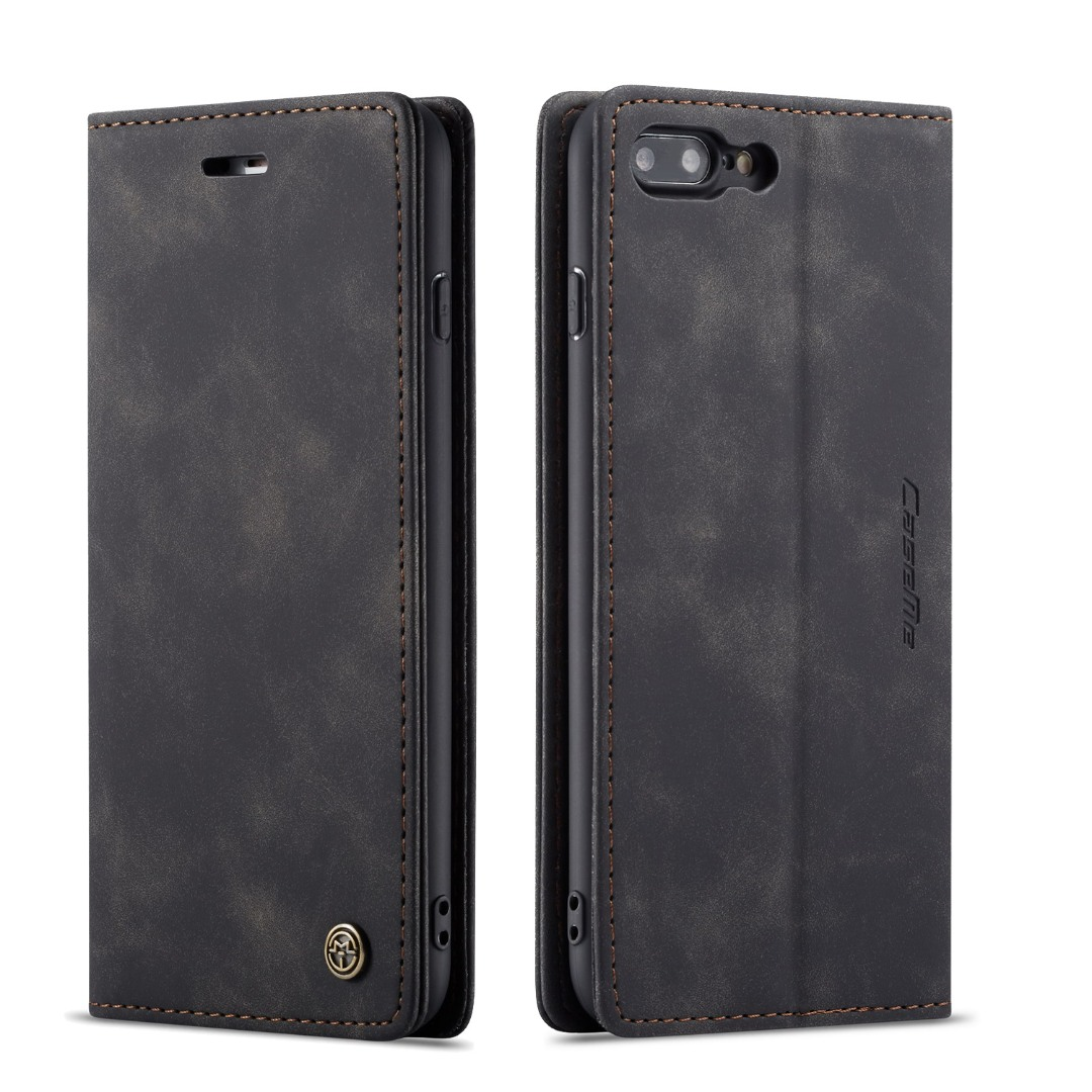 Husa slim piele, tip portofel, stand, inchidere magnetica, textura catifelata, iPhone 8 Plus / 7 Plus - CaseMe, Negru