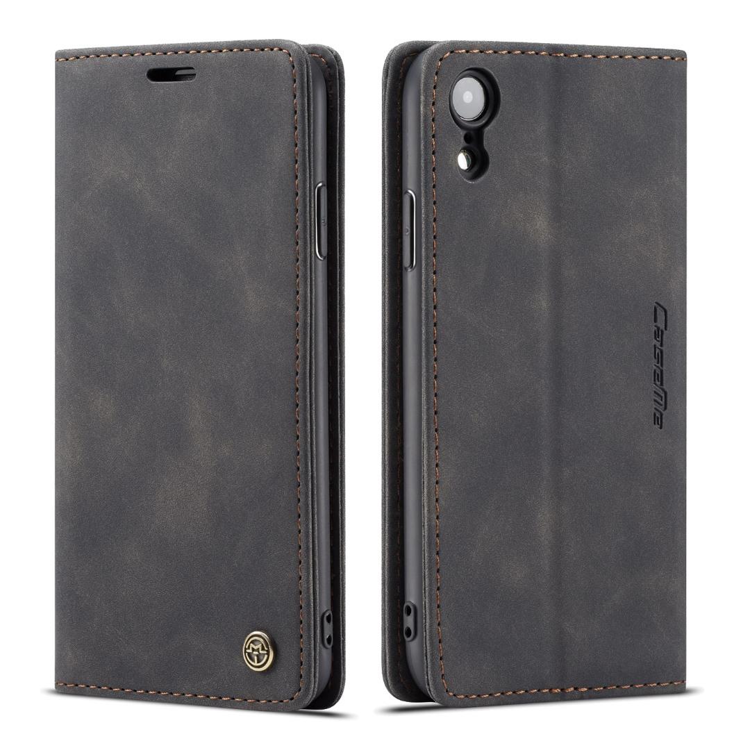 Husa slim piele, tip portofel, stand, inchidere magnetica, textura catifelata, iPhone XR - CaseMe, Negru