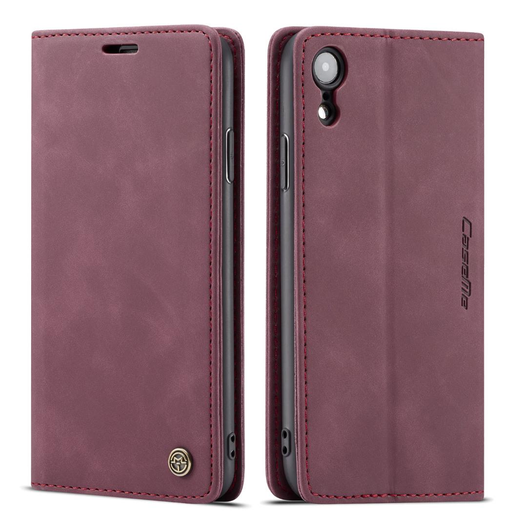 Husa slim piele, tip portofel, stand, inchidere magnetica, textura catifelata, iPhone XR - CaseMe, Visiniu